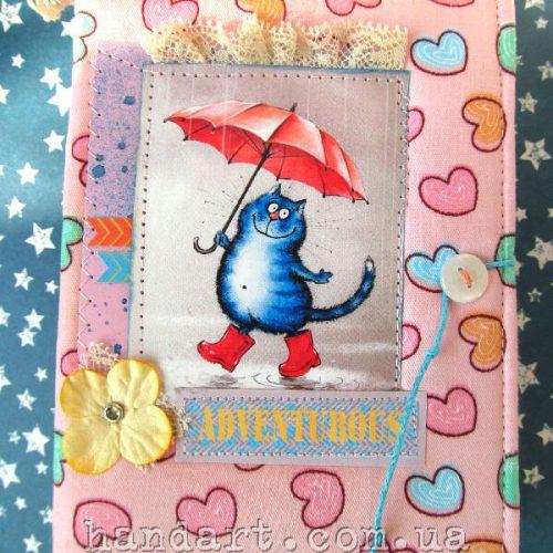 """Блокнот """"Котик под зонтом"""" мягкая обложка"""