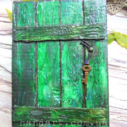 """Блокнот """"Забор зеленый"""" обложка с ключиком"""